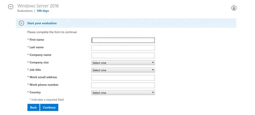 Formularz do podania danych osobowych w celu pobranie windows server 2016