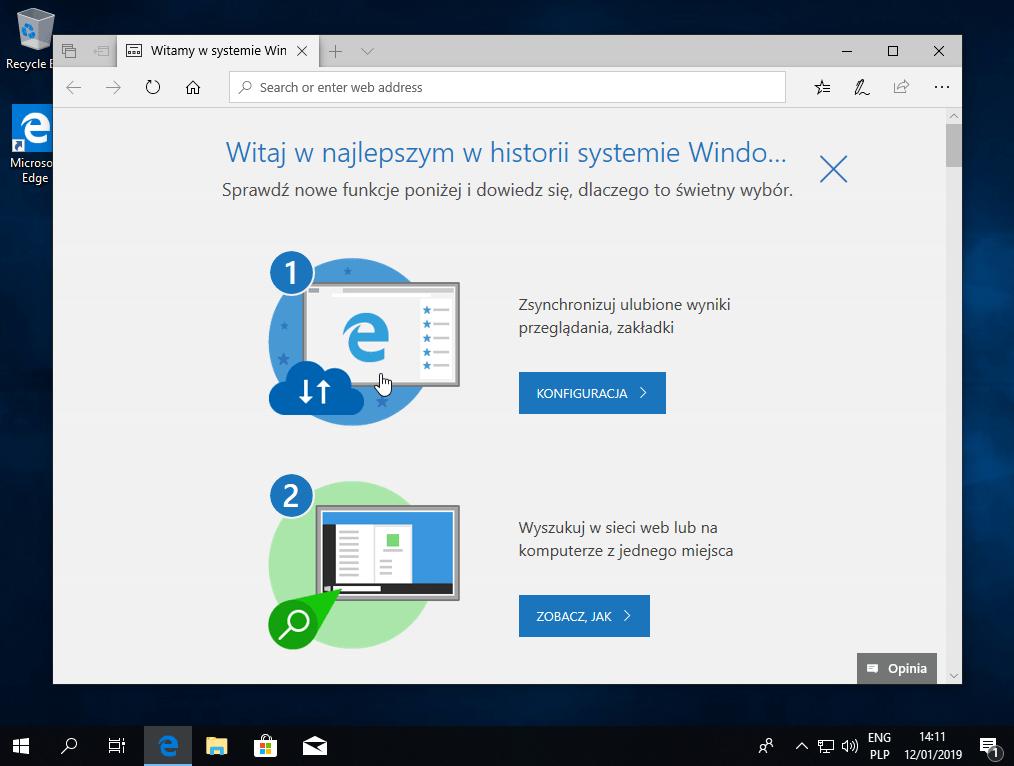 Wygląd ekranu po instalacji systemu