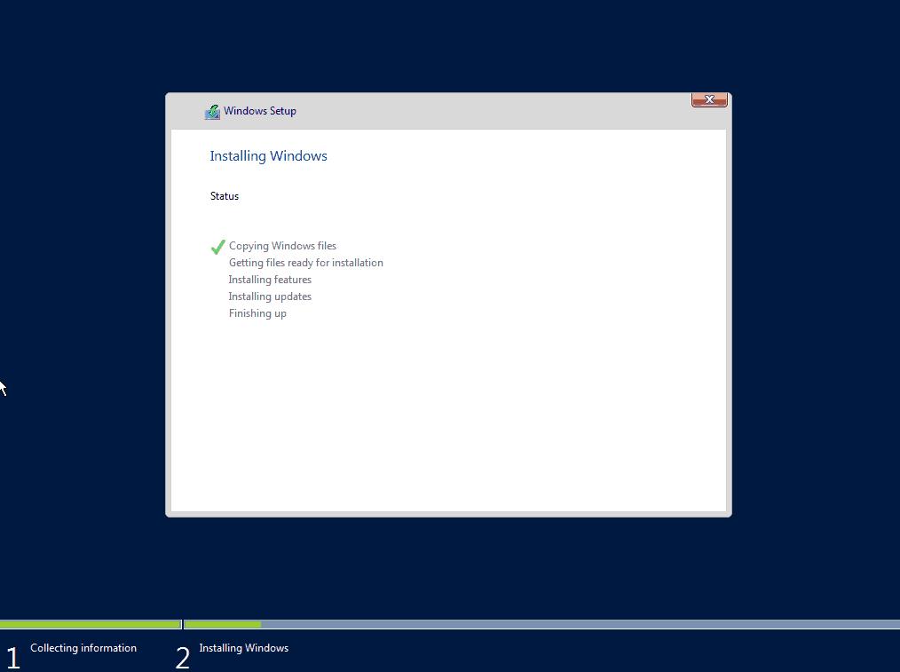 Rozpoczęcie kopiowania plików przez instalator