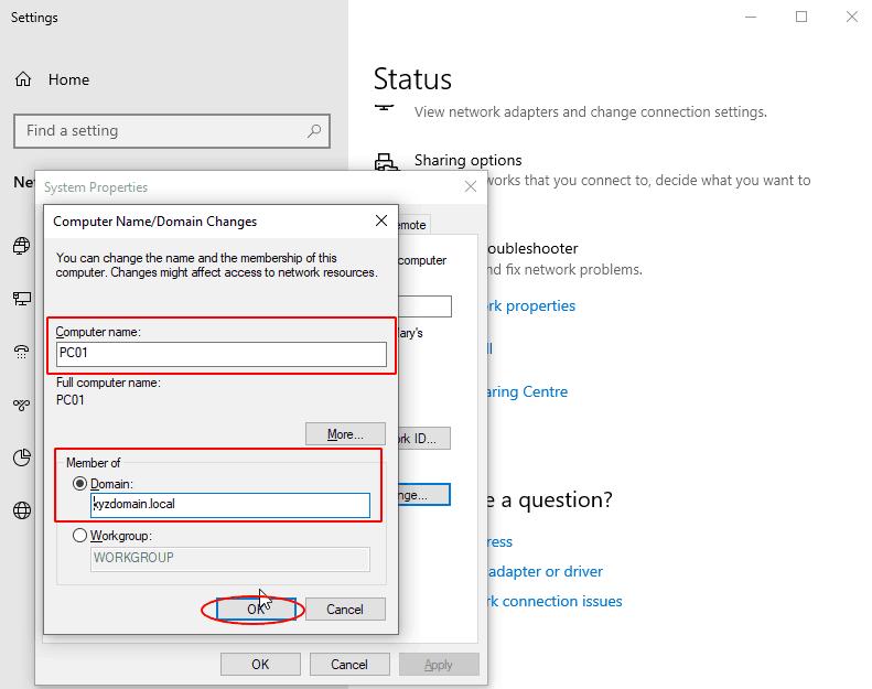 przylaczenie komputera do active directory