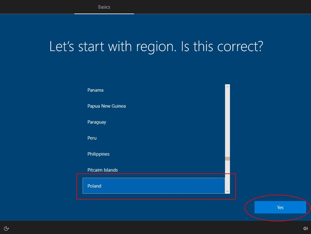 Wybór regionu