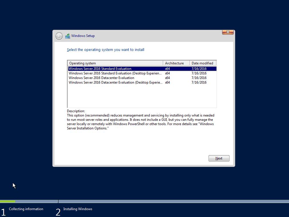 wybór wersji windows server 2016