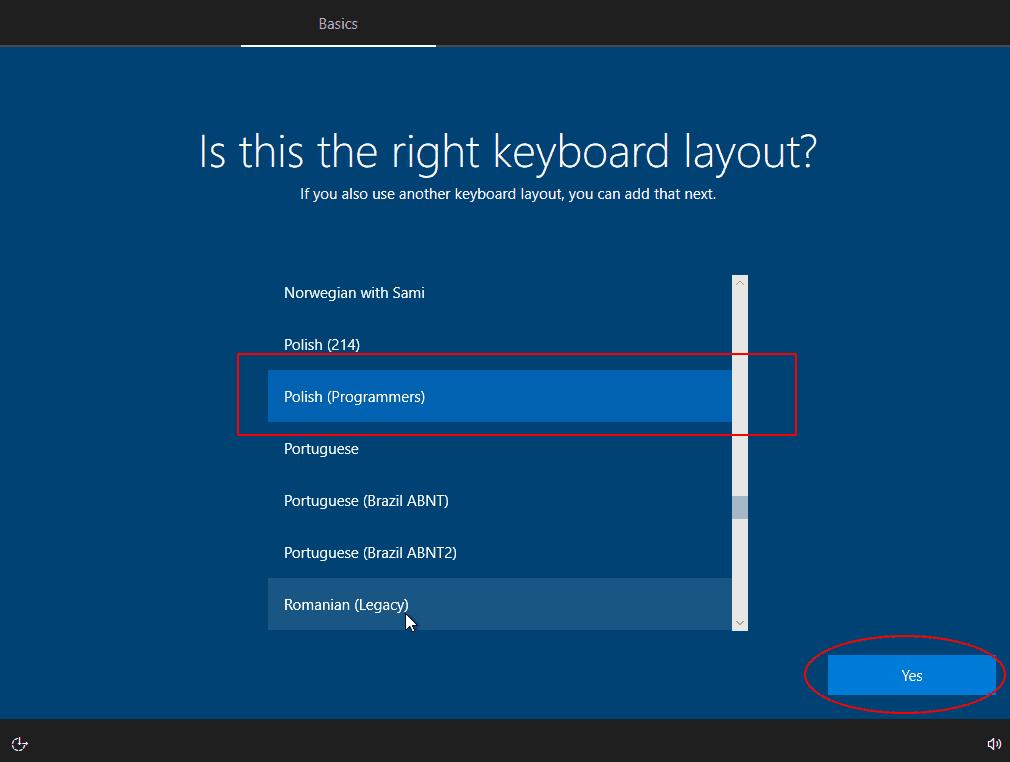 Wybór klawiatury
