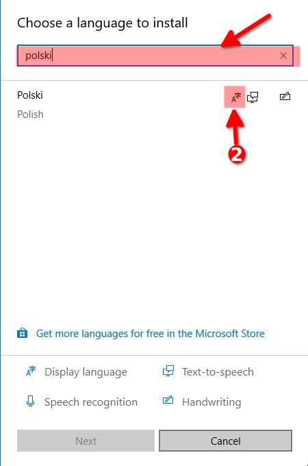 Wyszukanie nowego języka