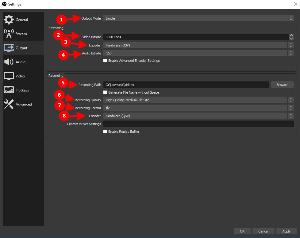OBS ustawienia wyjścia Windows