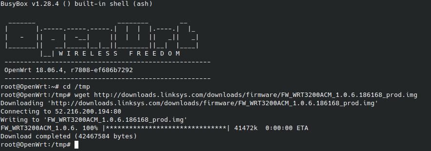 pobrane oprogramowanie linksys na openWRT