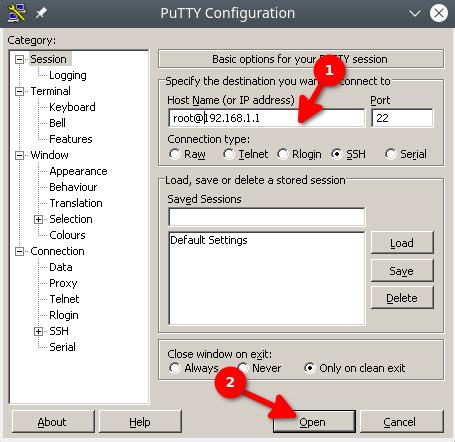 putty nawiązywanie połączenia ssh