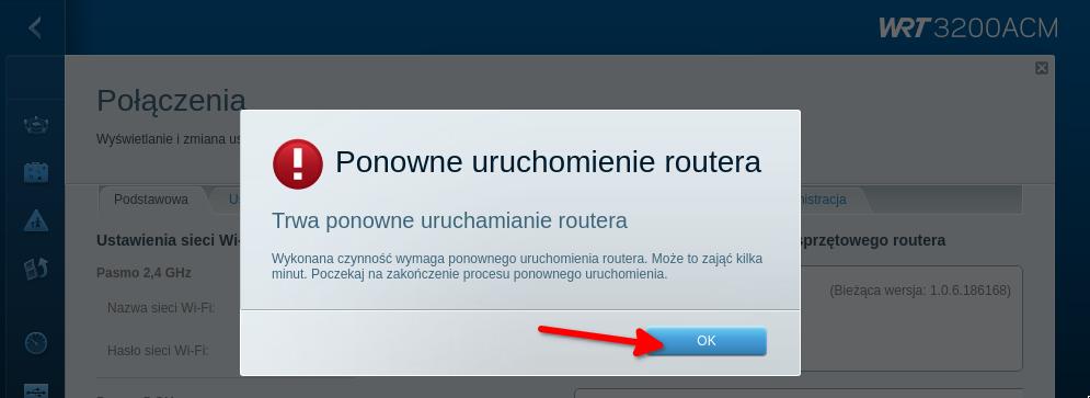 komunikat: Ponowne uruchamianie routera