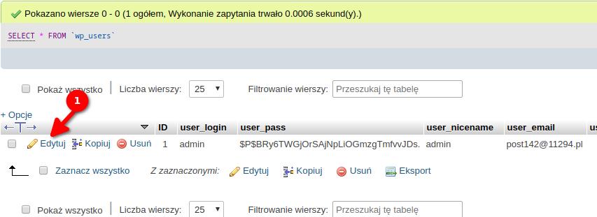 Edycja konta w bazie danych
